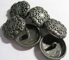 6 x Antique Silver Colour heavy METAL Shank Back Buttons 23mm Wide (B27)