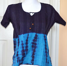 Blue Turqoise Color Tie and Dye Cotton Tunic Top Kurti from India