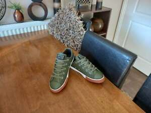 CONVERSE ALL STAR KHAKI GREEN LEATHER LOWS SIZE UK 3 EURO 35.5
