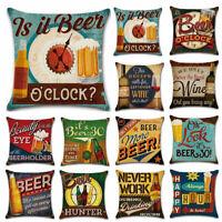 Cotton Linen Vintage Beer Wine Bottle Pillow Case Sofa Throw Cushion Cover