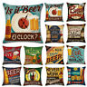 Cotton Linen Vintage Beer Wine Bottle Pillow Case Sofa Throw Cushion Cover
