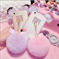 Soft Glitter Bling Plush Fur Pom Pom Back Case Cover for Samsung Galaxy A6/A8/J4