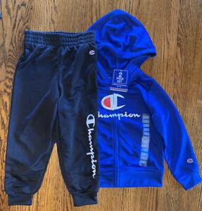 Boy's Champion Full Zip Hoodie & Jogger Pants 2 Piece Set 4T Blue & Black NWT