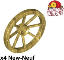 Lego - 4x roue jante tread chariot Large 33mm D. or doré/pearl gold 4489b NEUF