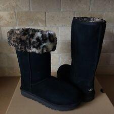 UGG Classic Tall II Animal Black Suede Sheepskin Boots Size US 6 Womens