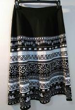 Womens Basil & Maude Skirt Size 4 Black White Beaded Sequin  A-line Cotton blend