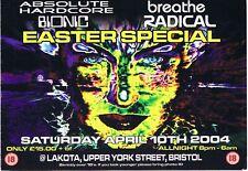 ABSOLUTE HARDCORE Rave Flyer Flyers 10/4/04 A5 Lakota Bristol
