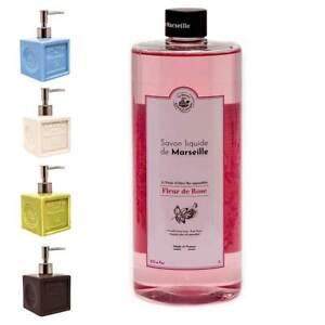 Savon de Marseille - Ceramic Soap Dispenser with 1 Litre Rose Liquid Soap
