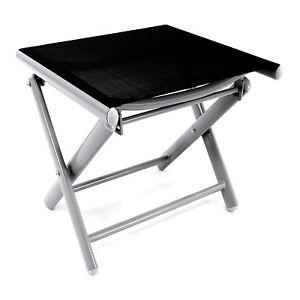 Mojawo® Garten Klapphocker Fußhocker Aluminium - Textilen Silbergrau/Schwarz
