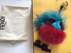 Fendi  Blue Bag Bugs Fur Charm Dad NWT $950 Karl Lagerfeld