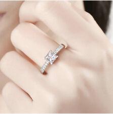 1Ct Princess Cut GRA Certified VVS1 D 5mm Moissanite Ring White Gold Fnsh Silver