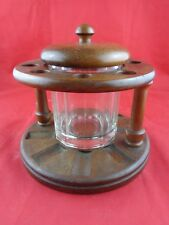 Vintage Round Wood Pipe Stand Holder with Glass Tobacco Humidor Holds 10 Pipes