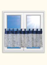 Schlaufen Scheibengardine Landhaus Blumen blau 48x140cm Bistrogardine Gardine