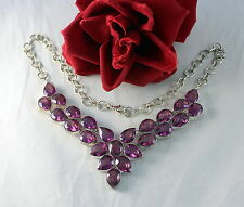 tone Necklace Cat Rescue Fabulous Purple Faux Stone Silver