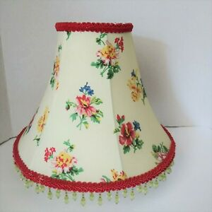 Laura Ashley Floral Table Lampshade Vintage Green Beaded Fringe Red Trim