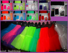NEON TUTU SKIRT SETS LONG FISHNET GLOVES LEGWARMERS FANCY 80S COSTUME HALLOWEEN