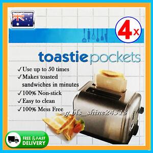 4x Toastie Pockets Bag Non-Stick Reusable Toast Sandwich Baking Oven Kitchen