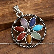 1Pc Reiki Healing Energy Crystal Flower Guide Meditation Chakra Pendant Necklace