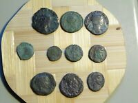LOT OF 10 ANCIENT ROMAN IMPERIAL BRONZE COINS cleaned