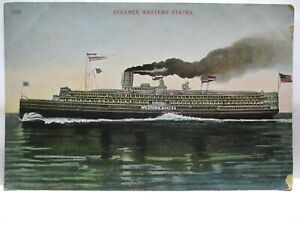 "1910 POSTCARD STEAMER "" WESTERN STATES "" W/ FLAGS, BANNERS UNUSED"