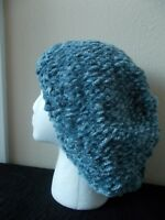 Hand knitted bulky and warm slouchy beanie/hat/beret, gray (large)