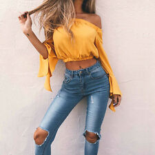 Women's Sexy Chiffon Flare Sleeve Tops Off Shoulder Shirt Casual T-Shirt Blouse#