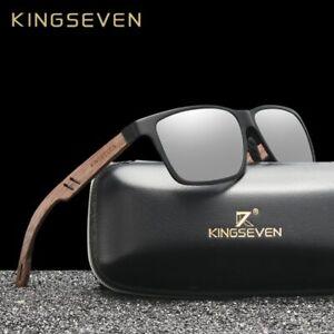 KINGSEVEN Aluminium + Walnut Wooden Polarized  Sunglasses  Unisex