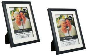 5x7 Set of 2 Black Picture Frames Glass Pane Contemporary Portrait or Landscape