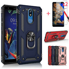 For LG Stylo 6/5/5 Plus Shockproof Armor Magnetic Ring Stand Case+Tempered Glass