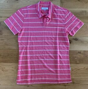 Orlebar Brown Polo Top Linen Blend Stripe S/S Tailored Medium Pink & White New