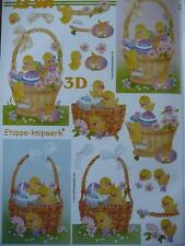 NEW A4 3D Paper Tole Very Cute Easter Birds in Baskets