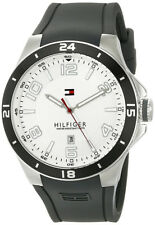 Tommy Hilfiger 1790863 Blake White Dial Black Silicone Strap Men's Watch