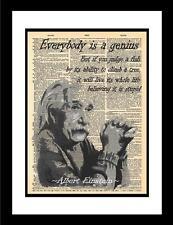 Genius Albert Einstein Quote 2 printed on vintage paper. Unique original print