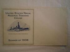 ANTIQUE 1938 UNITED STATES NAVAL RESERVE TRAINING CRUISE USS ARKANSAS ENVELOPE