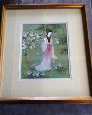 Vintage Japanese Geisha Painting, Signed – Painted on Plant Leaf