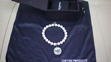 Emporio Armani Women Bracelet Pearl Stones Stainless Steel NEW EGS1666040 RARE!
