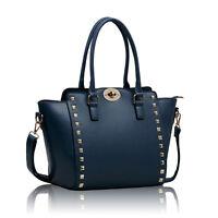Womens Ladies Designer Leather Tote Satchel Handbag Shoulder Celebrity Bag