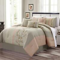 7-Piece Blush Taupe Embroidered Floral Cherry Blossom Striped Comforter Set