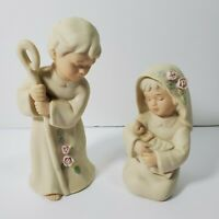 Vintage Homco Nativity Mary Joseph Baby Jesus Children 1992 Bisque Signed Mizuno