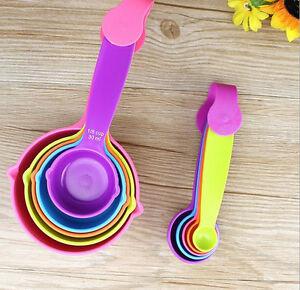 5Pcs Plastic Measuring Cups Measuring Spoons Set Baking Teaspoon Kitchen Tools F