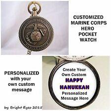 "Custom Personalized Usa Marine Corps Military Pocket Watch 31"" Chain Marine"