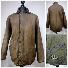 Mens Barbour Polarquilt Quilted Jacket Size Medium Snap Button Brown Duracotton