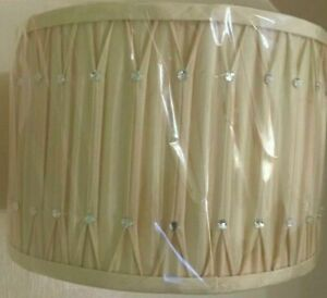 """CREAM CHAMPAGNE 12"""" PINCH PLEAT WITH DIAMANTES LORNA CYLINDER DRUM LIGHT SHADE"""