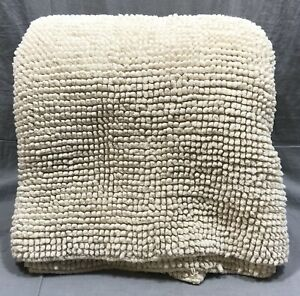 Pottery Barn Textured Organic Cotton Neutral Large Double Wide Bath Mat Rug