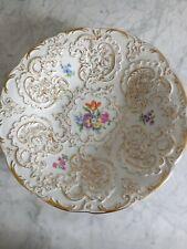 More details for german meissen large  fruit bowl floral hand painted & guilded