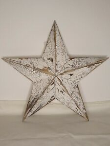 White Washed Wooden Amish Barn Star Large 39cm Shabby Chic Rustic Wall Hanging