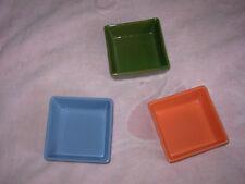 "square bowls 4""x4"" straight sides 1"" tall, dark green, med blue, orange/red"