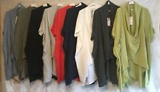 ITALIAN LAGENLOOK QUIRKY Cowl Neck Raw Edge 100% Cotton TUNIC TOP Boho Pockets