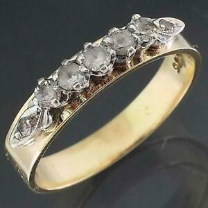 Vintage 1950-60 9k Solid Yellow GOLD 7 White SPINEL ACROSS ETERNITY RING Sz O