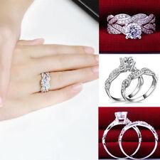 Lady Gemstone CZ Wedding Engagement Ring Set Band Rings Size 6-9 Womens Jewelry
